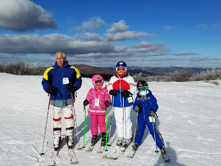 Stehli Krause and family on skis
