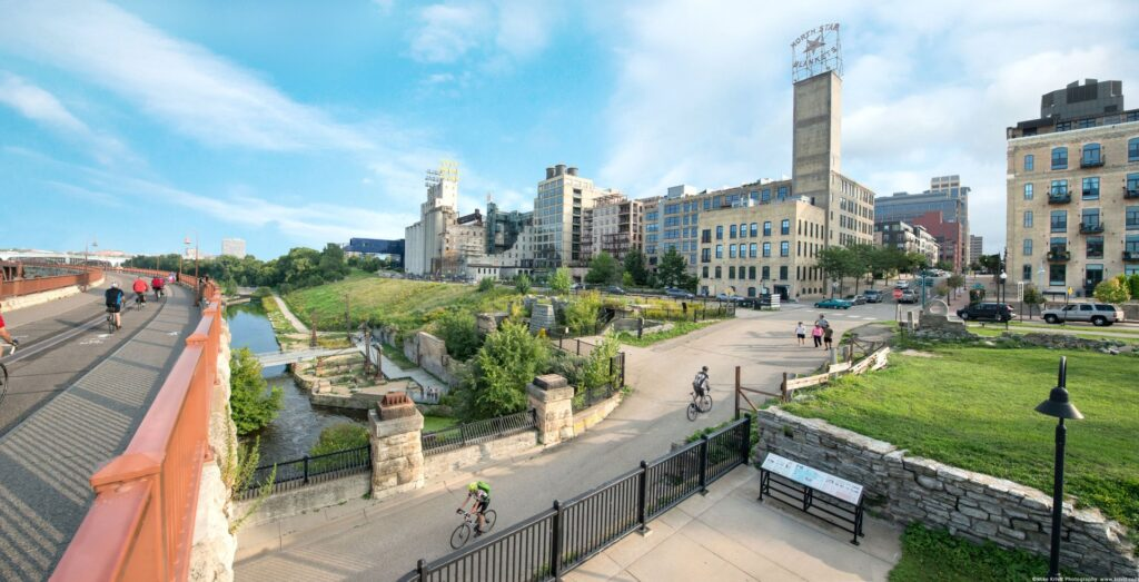 Stone Arch Bridge and the Mill City District.