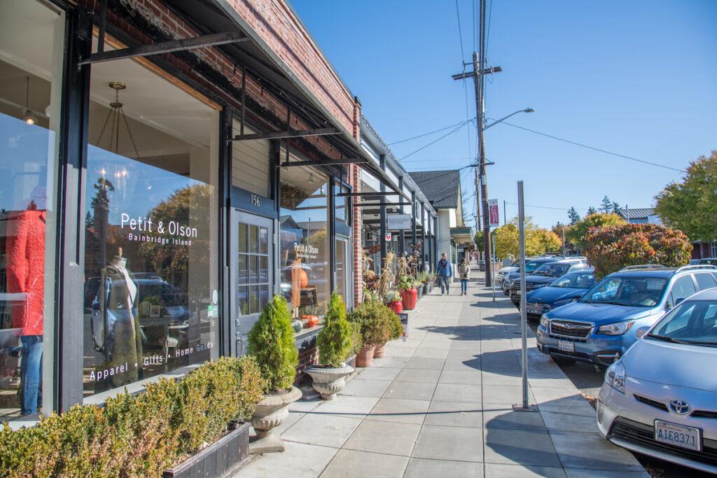 Storefronts in Bainbridge Island, Washington.