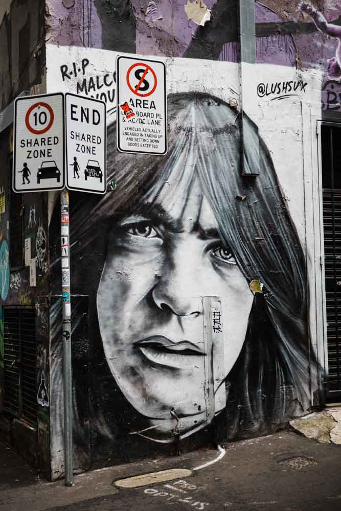Street art along AC/DC Lane.