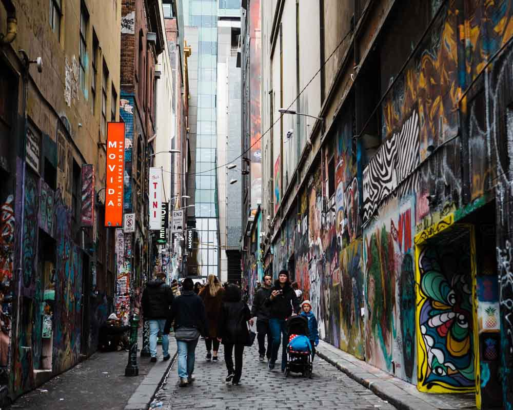 Street art along Hosier Lane.