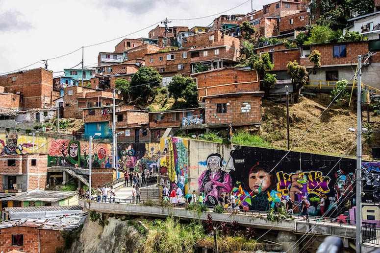 Street art on the hills of Comuna 13 in Medellin.