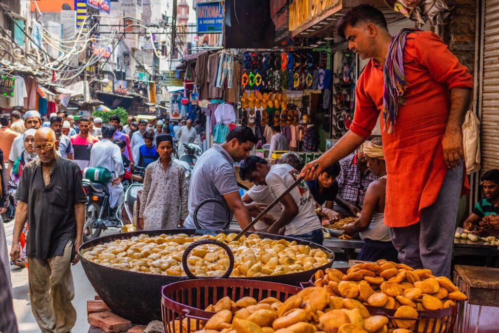 Street food in Delhi, India.