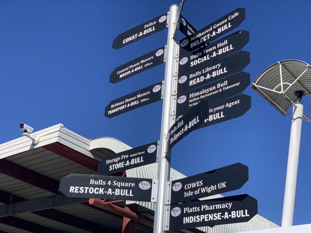 Street signs in Bulls, New Zealand.