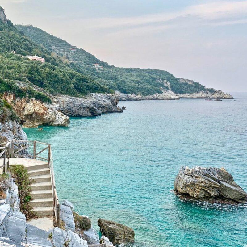 Stunning views of Mylopotamoa Beach in Northern Greece.