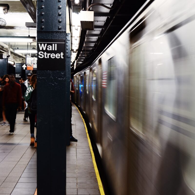 subway with Wall Street sign