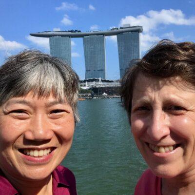 Sue and Regina in Singapore