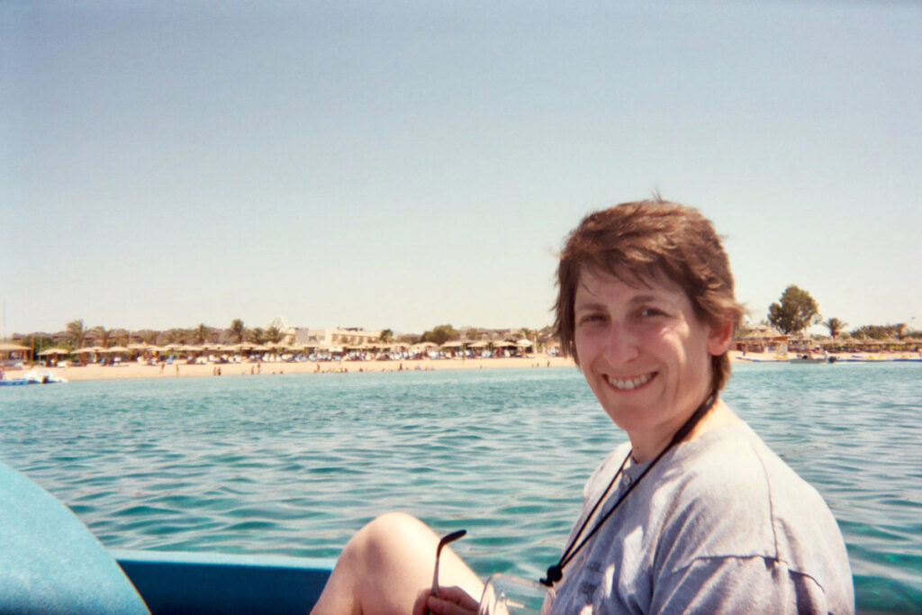 Sue Davies on the Red Sea in Egypt.