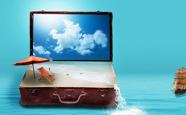 suitcase with beach scene