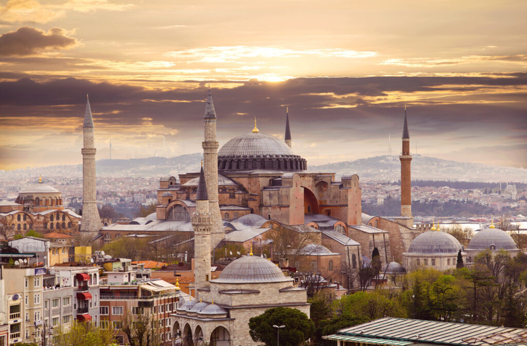 Sun and clouds over the Hagia Sophia in Istanbul, Turkey