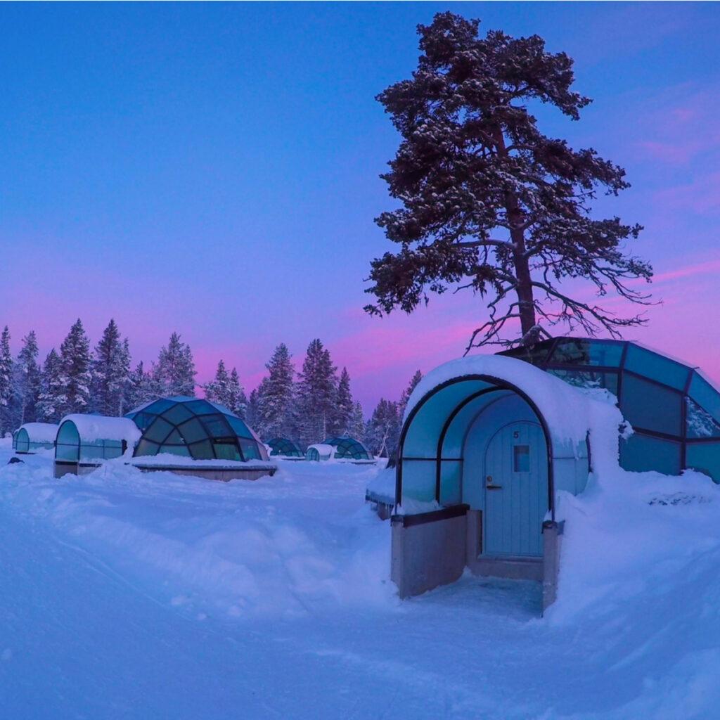 Sunrise at Kakslauttanen Arctic Resort in Finland.
