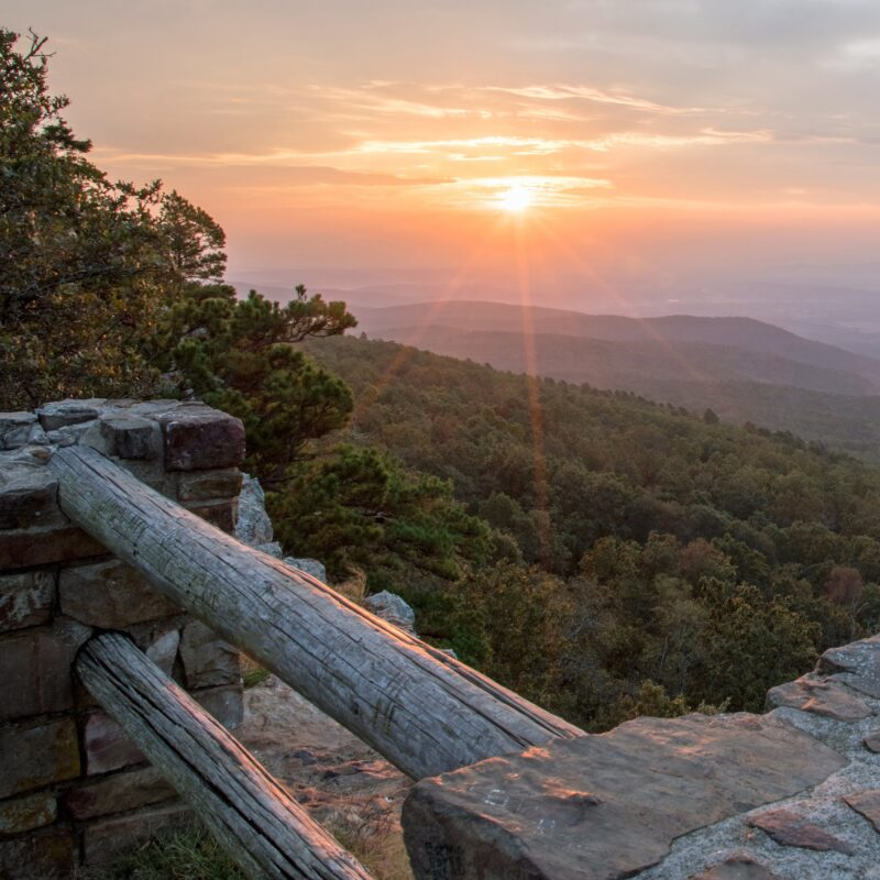 Sunrise at Mount Magazine State Park in Arkansas.