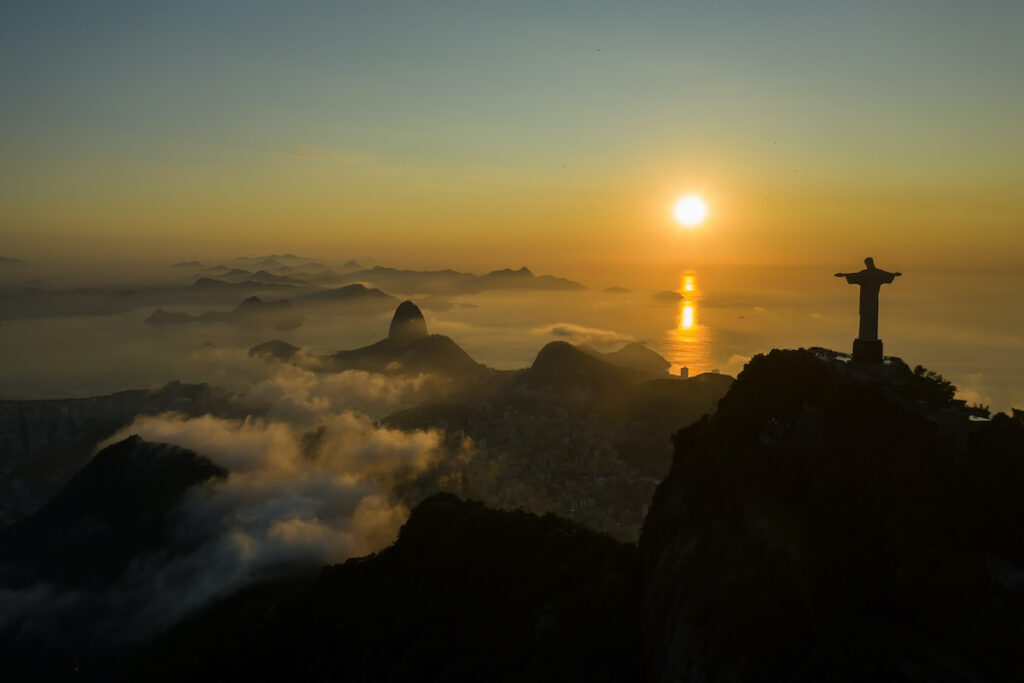 Sunrise at the Christ The Redeemer statue.