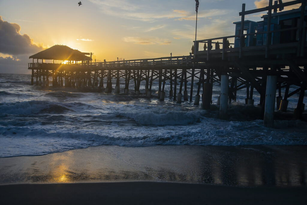Sunrise at the Westgate Cocoa Beach Pier in Florida.