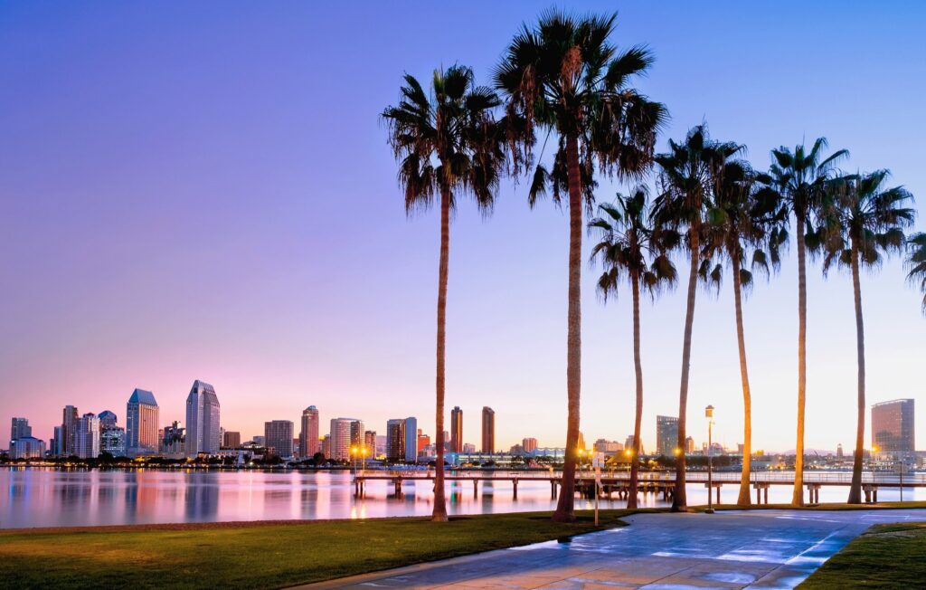 Sunrise in San Diego, California.