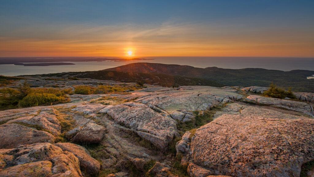Sunrise on Cadillac Mountain in Acadia National Park.
