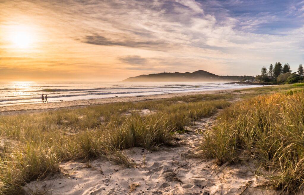 Sunrise on the Main Beach at Byron Bay.