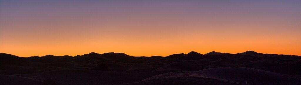 Sunrise over Erg Chebbi in Morocco.