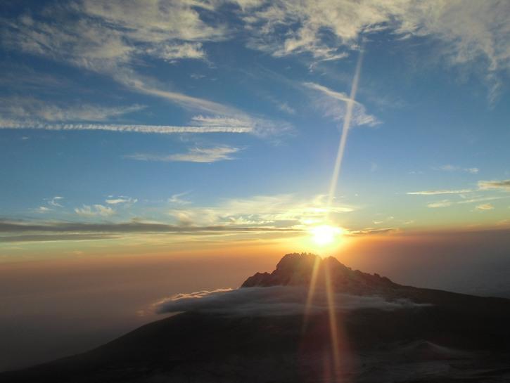 Sunrise over the snow-covered peak of Kilimanjaro.