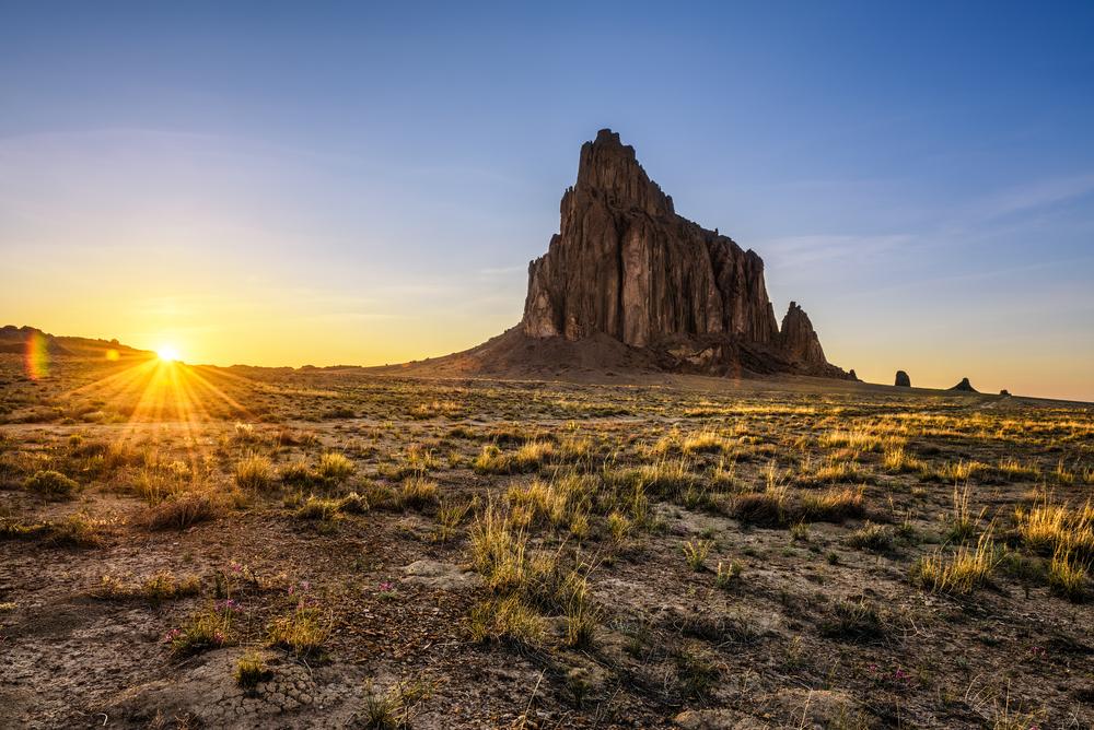 Sunset at Shiprock in the Navajo Nation.