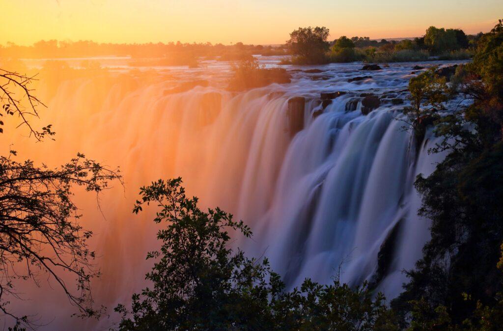 Sunset at Victoria Falls.