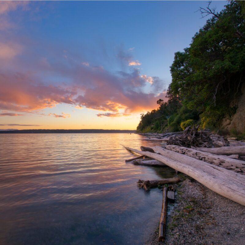 Sunset, Camano Island, Washington, shoreline.