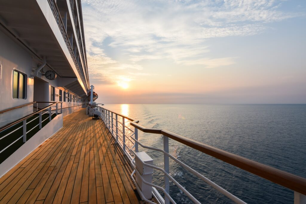 Sunset from the deck of a cruise ship.