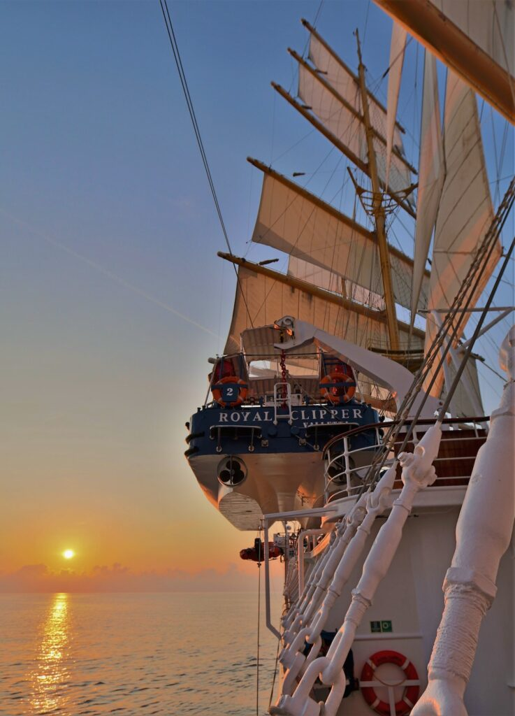 Sunset from the deck of the Royal Clipper.