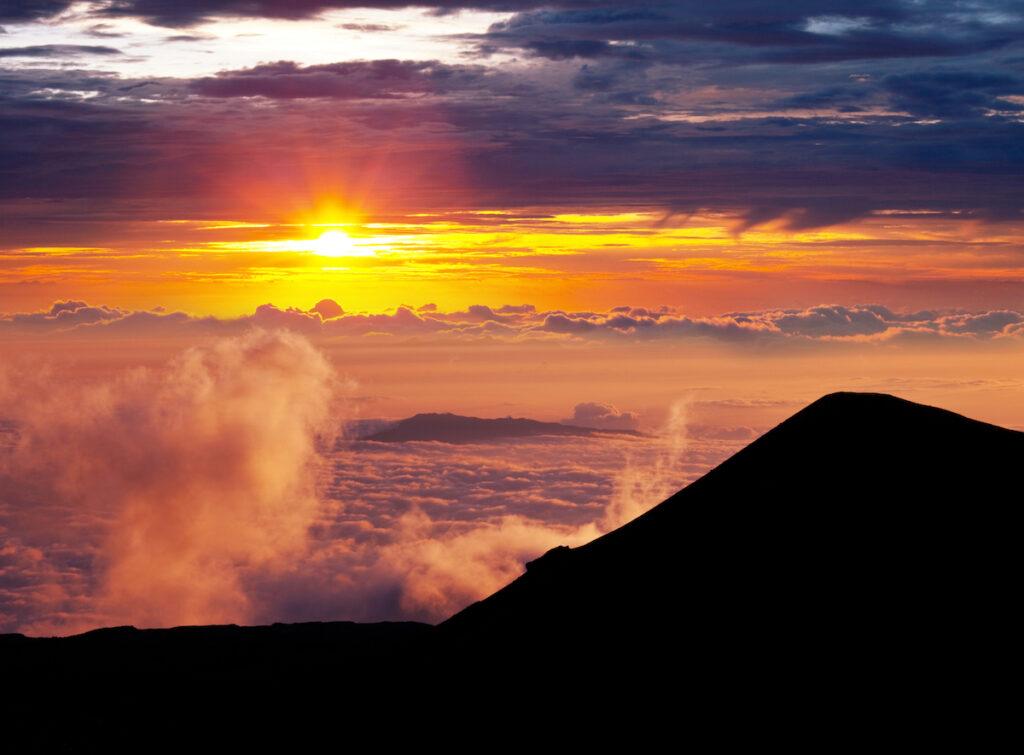 Sunset from the summit of Mauna Kea in Hawaii.