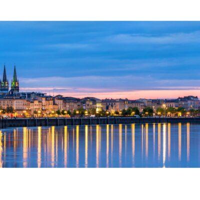 Sunset in Bordeaux, France.