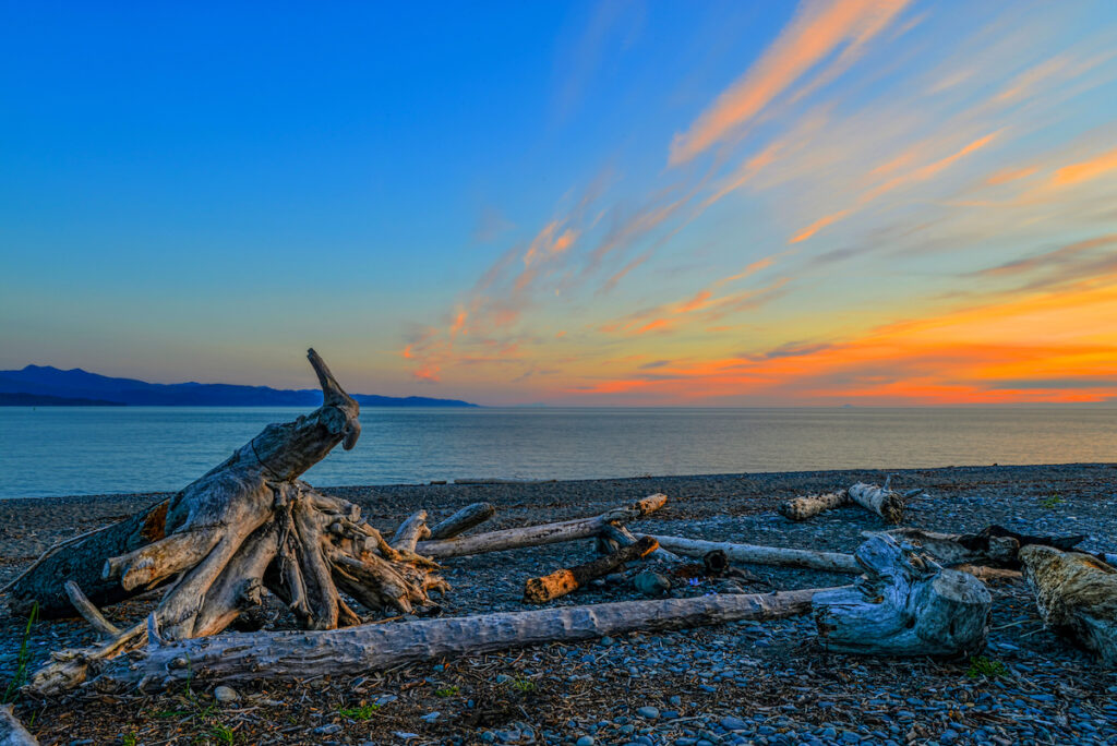 Sunset on the shores of the Homer Spit.