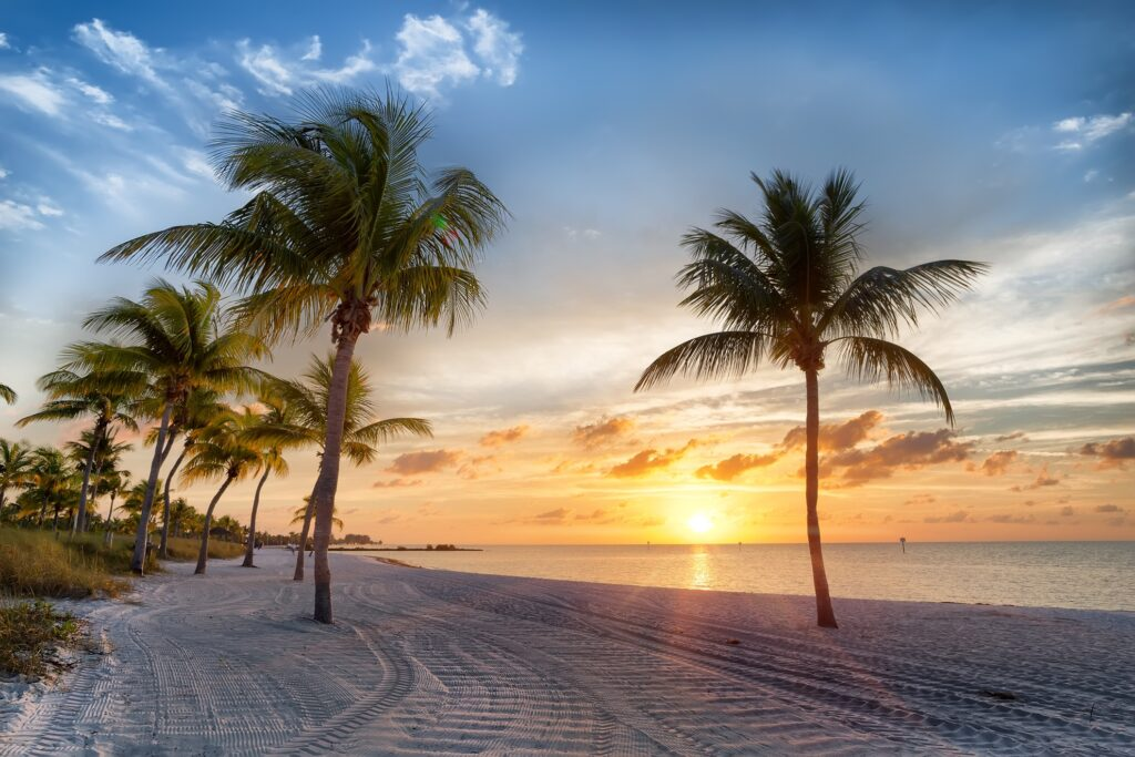 Sunset over a beach in Key West.