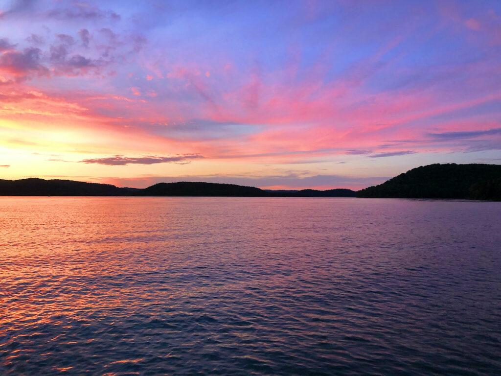 Sunset over Beaver Lake, Arkansas.