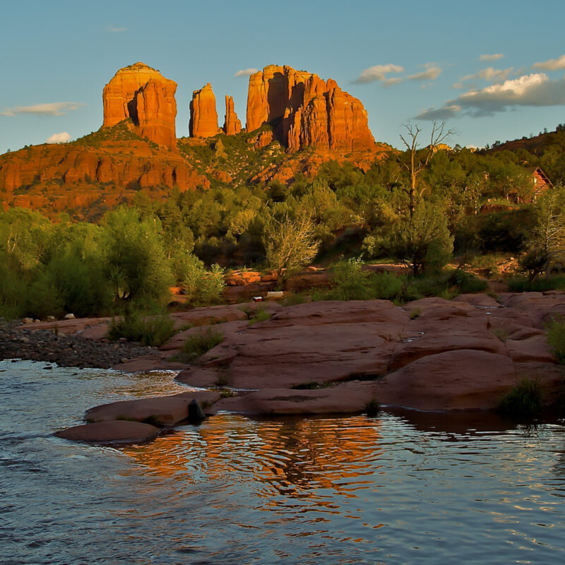 Sunset over Cathedral Rock in Sedona, Arizona.