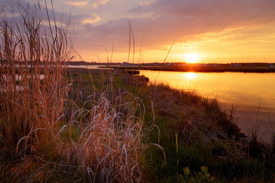 Sunset over Fenwick Island in Delaware.