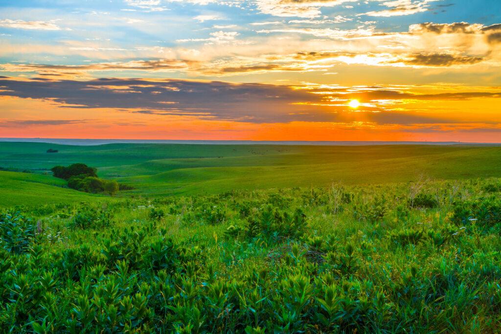 Sunset over Flint Hills, Kansas.