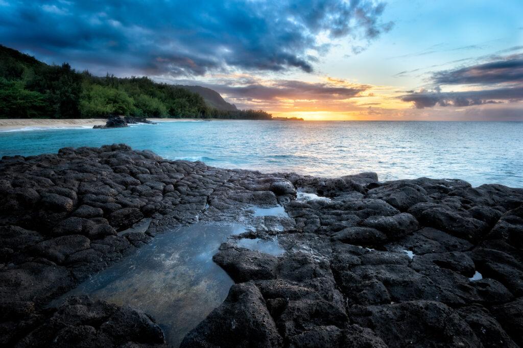 Sunset over Kauapea Beach, Kalihiwai, Hawaii