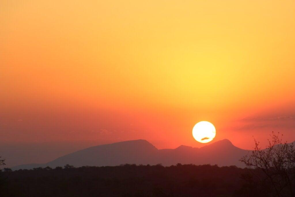 Sunset over Kruger National Park.