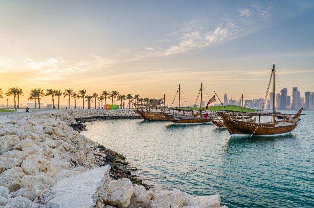 Sunset over La Corniche and the Museum of Islamic Art.
