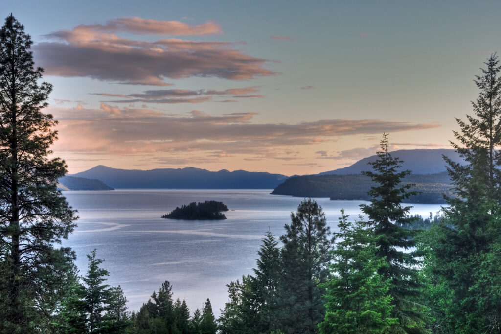Sunset over Lake Pend Oreille in idaho.