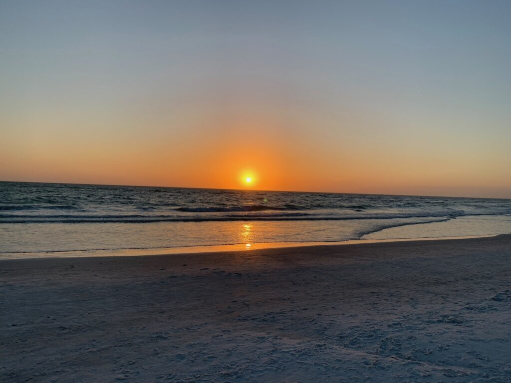 Sunset over Lido Key Beach in St. Armands Circle.