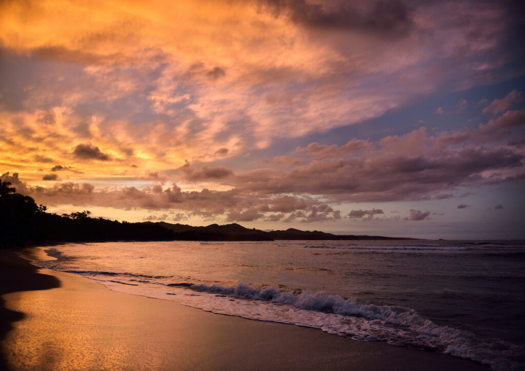 Sunset over Maimon, a beach in the Dominican Republic.