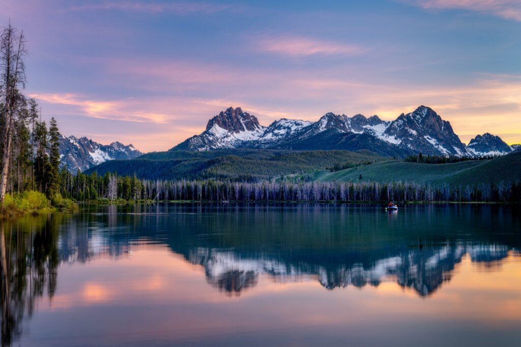 Sunset over Redfish Lake in Idaho.