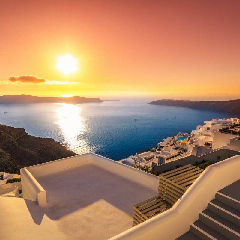 Sunset over Santorini, Greece.