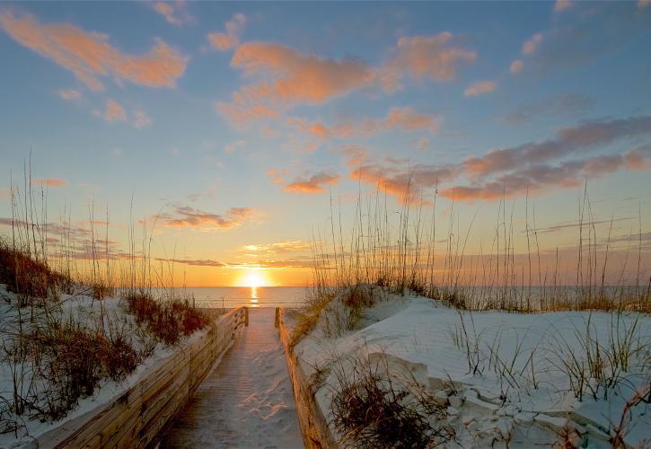 Sunset over the beach along the St. Joseph Bay Trail.
