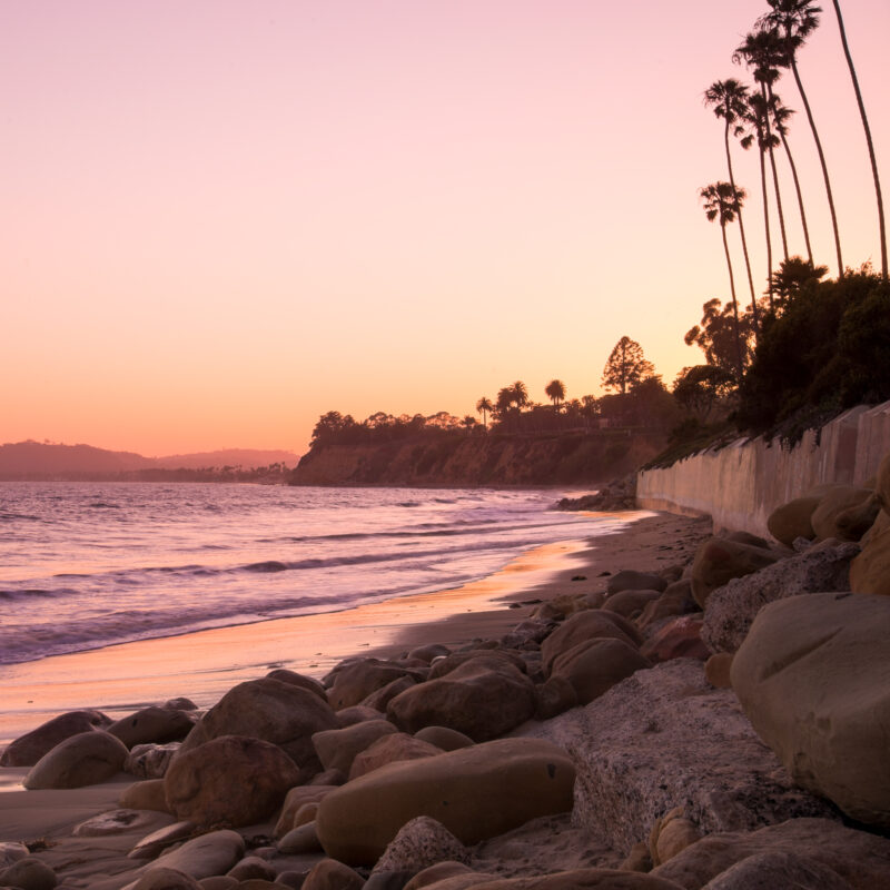 Sunset over the beach in Santa Monica, California.