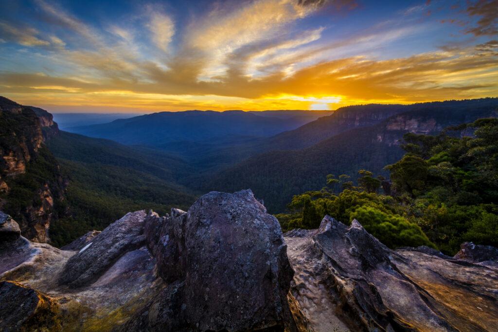 Sunset over the blue mountains outside Sydney Australia