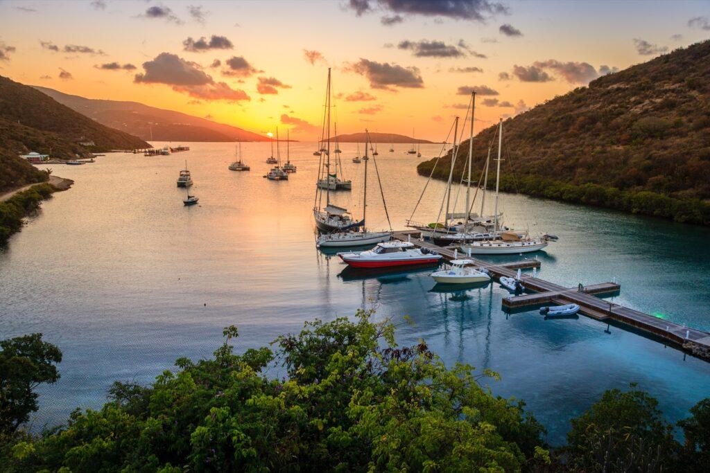 Sunset over the British Virgin Islands.