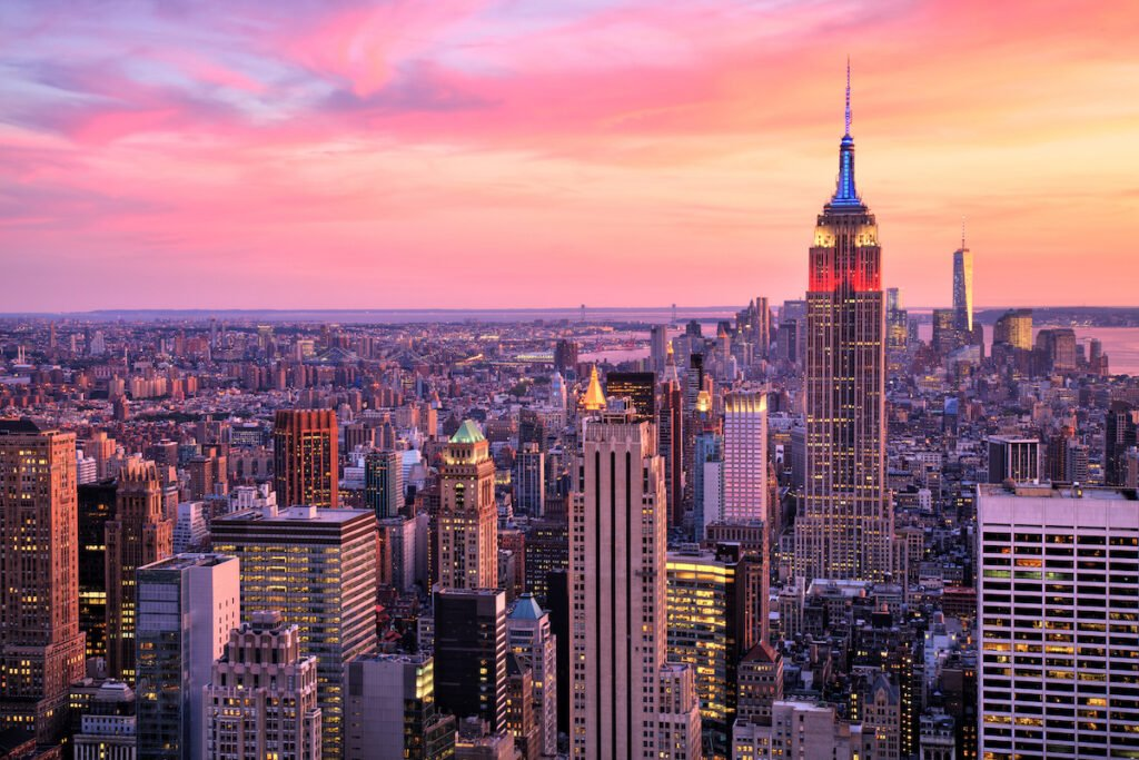 Sunset over the Empire State Building in New York City.