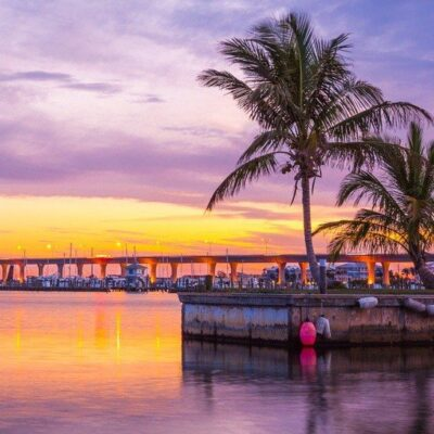 Sunset over the harbor in Stuart, Florida.